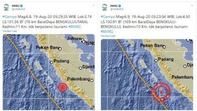 Gempa Bumi ''Doublet'' Guncang Bengkulu, BMKG: Ada Lima Aktivitas Gempa Susulan