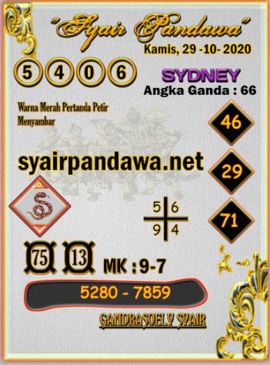 Gambar Syair Pandawa Sydney kamis 29 oktober 2020