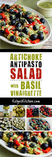 Artichoke Antipasto Salad with Basil Vinaigrette found on KalynsKitchen.com