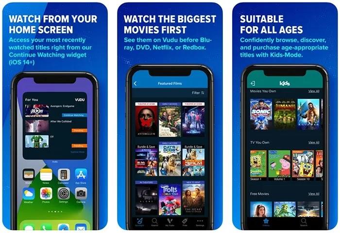 تطبيقات الأفلام المجانية Iphone Vudu