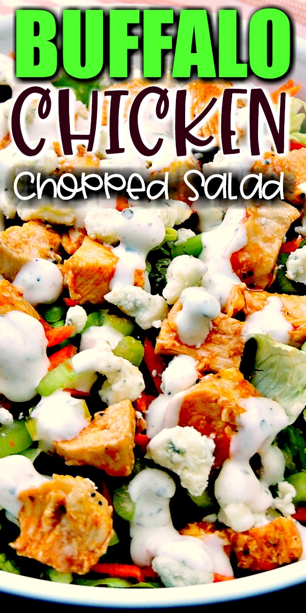 Buffalo Chicken Chopped Salad - Trying to eat lighter doesn't mean you have to forgo your favorite foods. It just takes a little imagination. This Buffalo Chicken Chopped Salad recipe provides all of those Buffalo Chicken Wing flavors you crave minus extra carbs! #salad #buffalochicken #lowcarb #keto #lunch #Healthy #easy #recipe   bobbiskozykitchen.com
