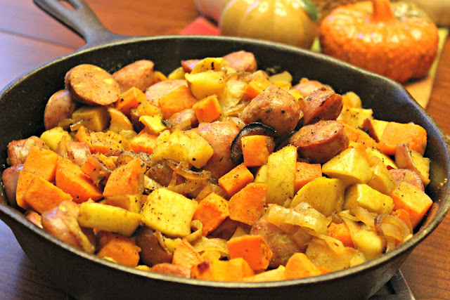 Easy, Healthy sweet potato and sausage skillet meal using chicken and apple sausage as meat option in the dish as well as butternut squash, apples, and onions.