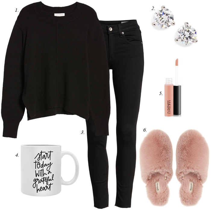 black jeans, black sweater, fuzzy slippers, diamond stud earrings wfh outfit