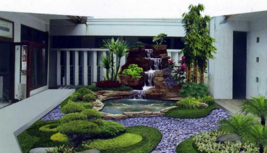 Desain Taman Belakang Rumah Minimalis dengan Dekorasi Rumput yang Sangat Cantik