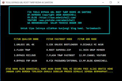 (Cukup Satu Klik) Bypass Ubl Dan Pasang TWRP Redmi 4x Santoni