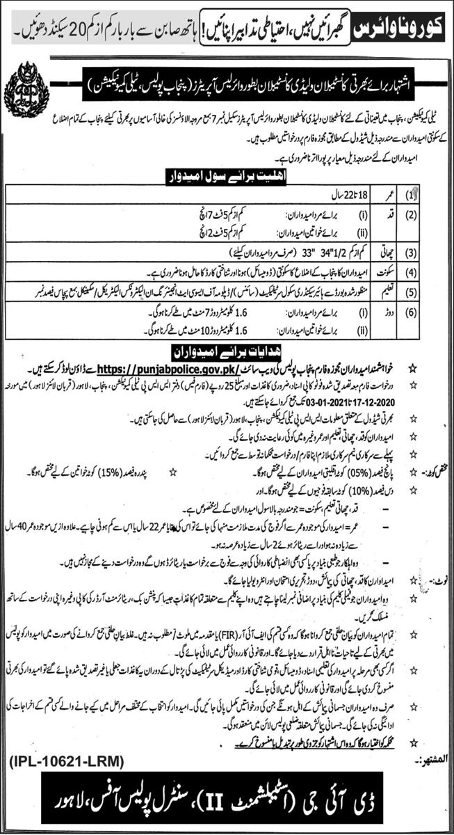 Punjab Police Wireless Operator Jobs 2020