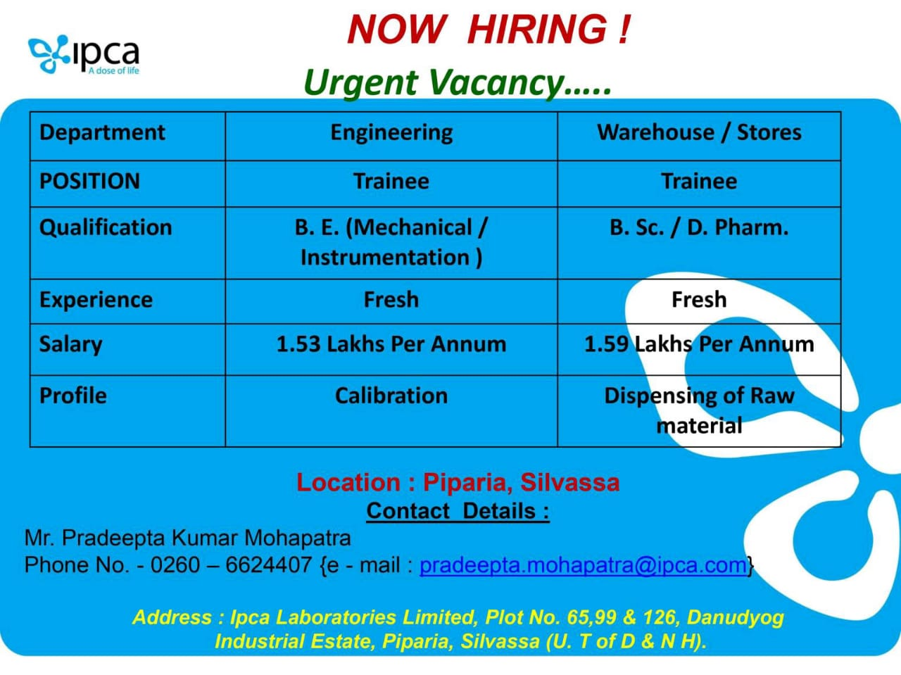 Ipca Laboratories - Urgent Vacancy for Freshers - Engineering / Warehouse / Stores Department