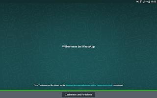 Screenshot WhatsApp neuer User Zustimmung Nutzungsbedingungen und Datenschutzrichtlinie