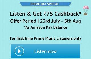 Listen Amazon Prime Music & Get ₹75 Pay Balance