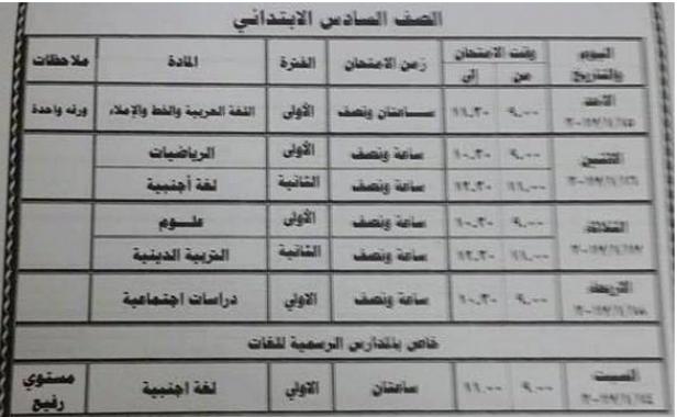 جدول إمتحانات الصف السادس الإبتدائي, الترم الاول