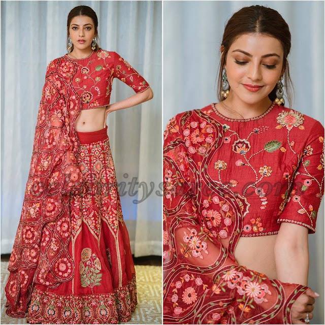 Kajal Agarwal in Floral Embroidery Lehenga