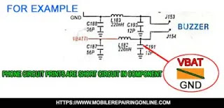 mobile phone circuit tracks are short circuit due to fallen damage