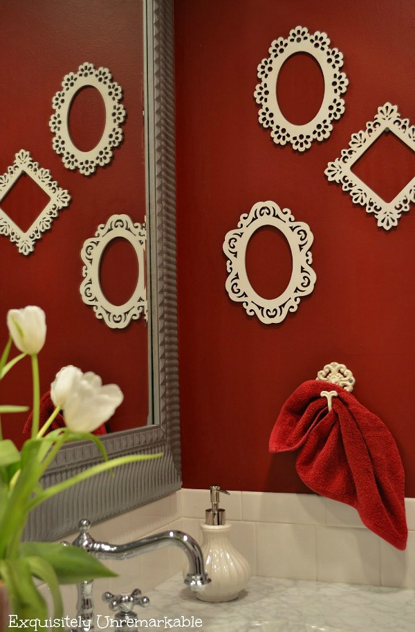 Red Bathroom With Tulips