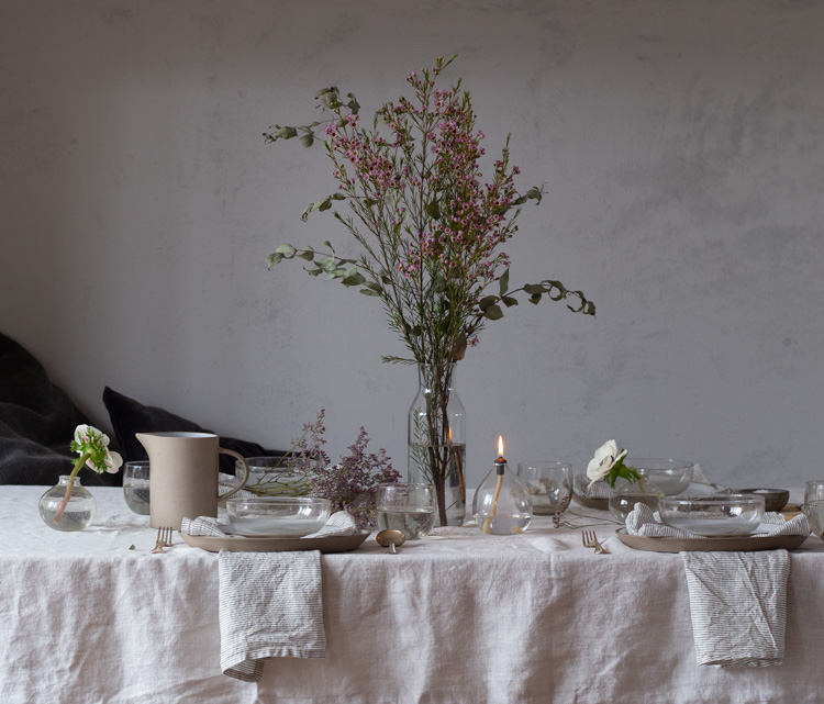 My Spring Table With Danish Recycled Glassware