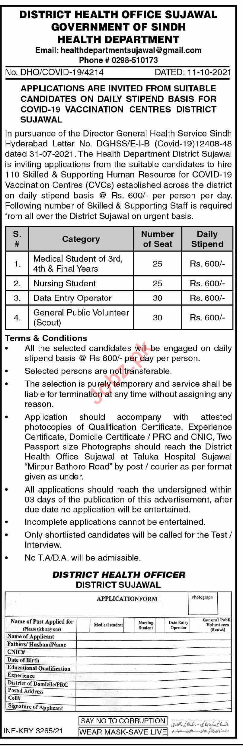 District Health Office Sujawal Jobs 2021 in Pakistan