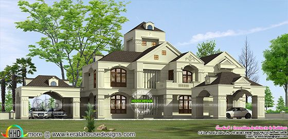 5700 square feet luxury Colonial home with 5 BHK