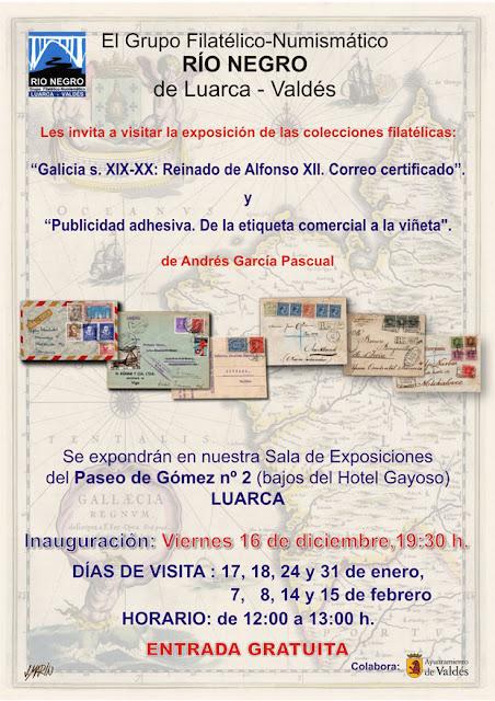 Cartel exposición filatélica en Luarca. Río Negro. Diciembre 2016