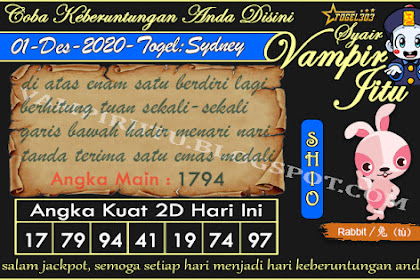 Syair Vampir Jitu Togel Sydney Selasa 01 Desember 2020