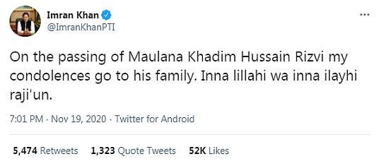 Condoléances d'Imran Khan àla famille Khadim Hussain Rivzi le fondateur du Tehreek-e-Labbaik