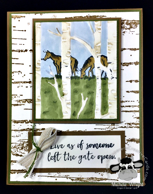 Card, Let it Ride, Birch Background, Rustic, Horses
