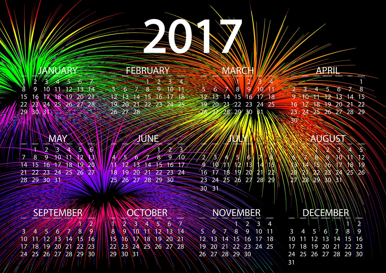 Happy New Year 2017 Calendar