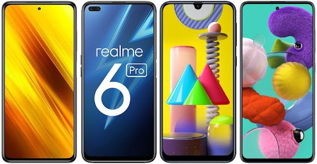Xiaomi POCO X3 vs Realme 6 Pro vs Samsung Galaxy M31 vs Samsung Galaxy A51