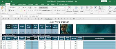 Captura de pantalla de mi contador de palabras con el personaje Groot