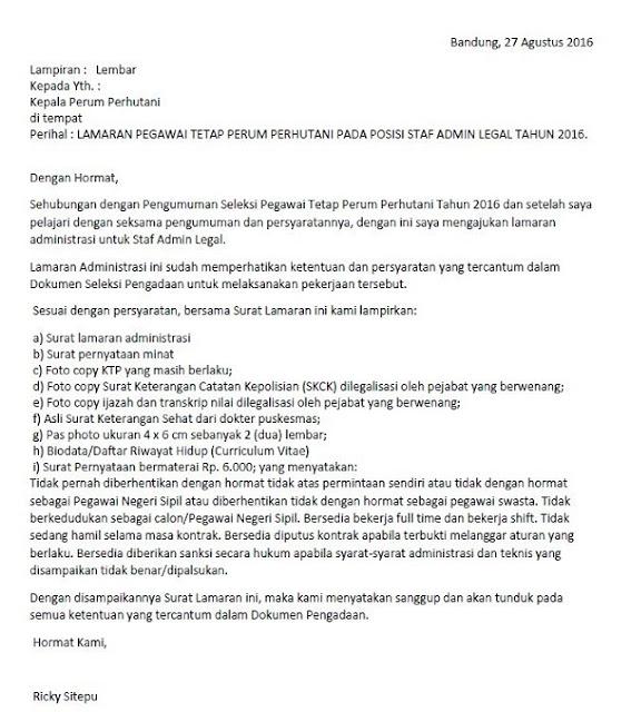 Contoh surat lamaran kerja BUMN