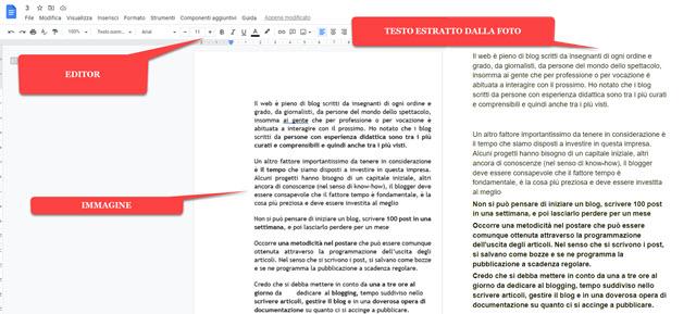 estrazione del testo dalle foto con google documenti