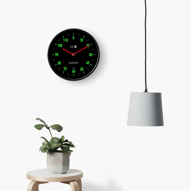 Retro car speedometer wall clock with green dials
