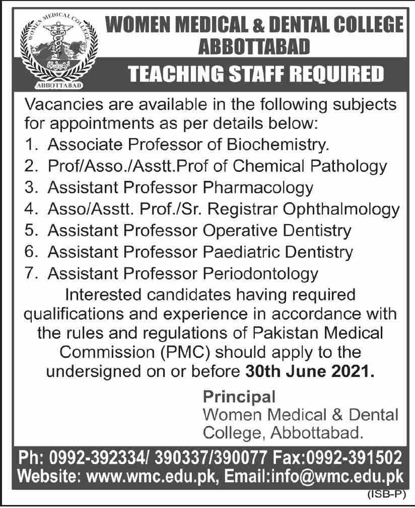 Women Medical & Dental College Abbottabad Jobs 2021 in Pakistan For Teaching Staff