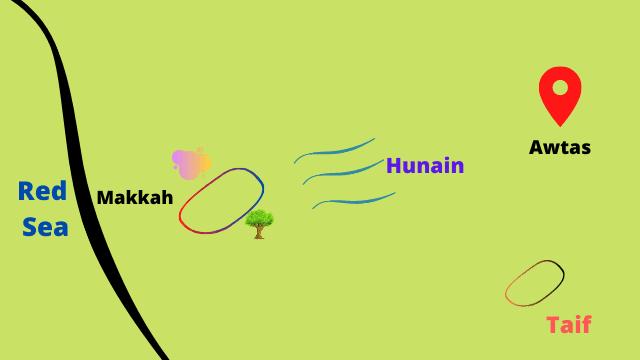 হুনাইনের যুদ্ধের মানচিত্র Battle of Hunayn map