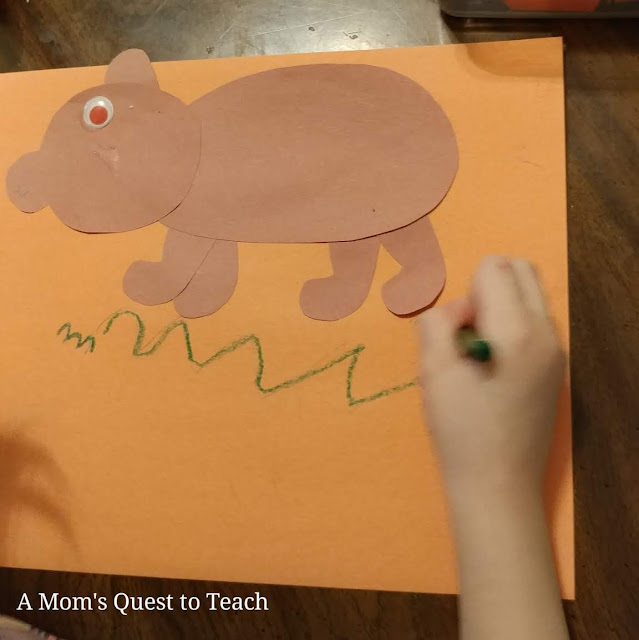 brown bear craft; drawing grass onto construction paper