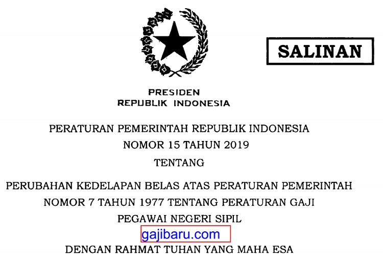 PP Gaji PNS 2019 Nomor 15 Tahun 2019 Silakan Download Di Sini