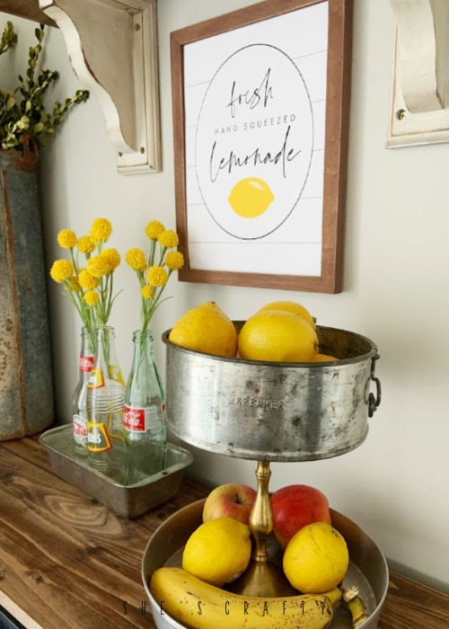 Summer Home Decor - Lemonade Printable  -  tiered tray from vintage pans to hold fruit