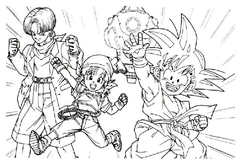COLOREA TUS DIBUJOS: Trunks, Goku Y Pan Para Colorear