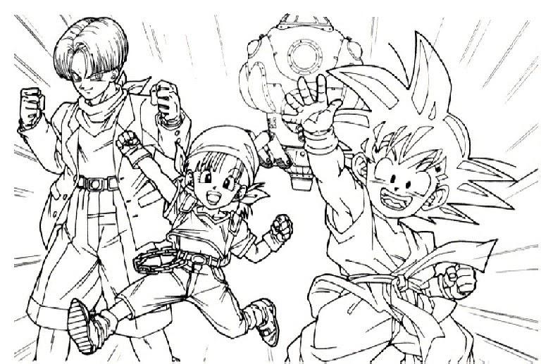 Trunks, Goku Y Pan Para Colorear