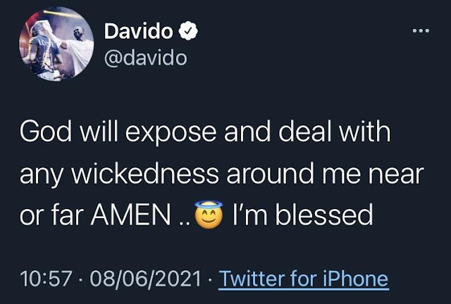 God will expose any wickedness around me – Davido prays over prophecy of being poisoned