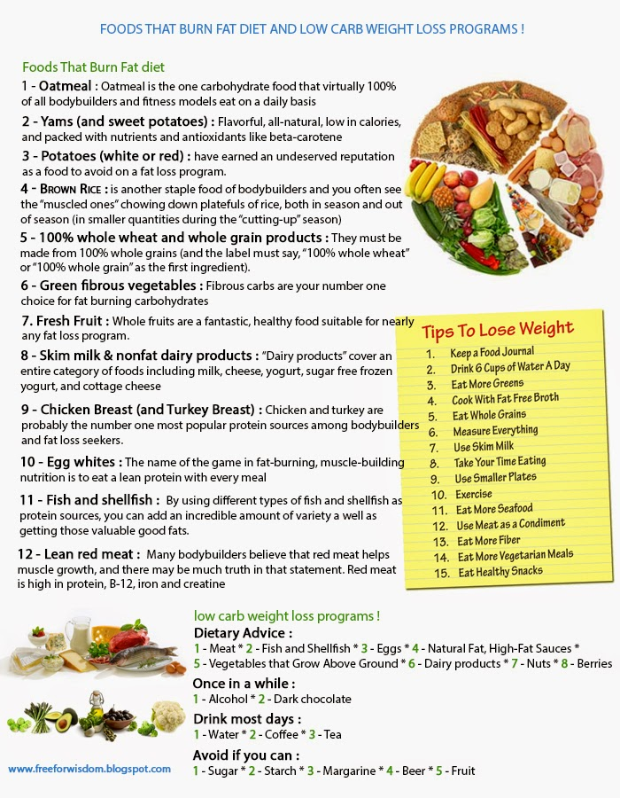 Burn fat diet and low carb weight loss programs !