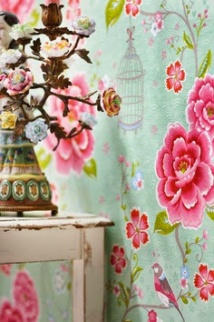 awesome pink and blue floral print wallpaper