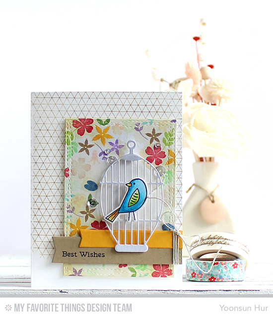 Best Wishes Birdie Card by Yoonsun Hur featuring the Tweet Friends stamp set and Die-namics, the Lisa Johnson Designs Spring Wreath and Laina Lamb Design Sweet Succulents stamp sets, the Geometric Grid Background stamp, and the Cheerful Cages, Wonky Stitched Rectangle STAX, and Blueprints 27 Die-namics #mftstamps