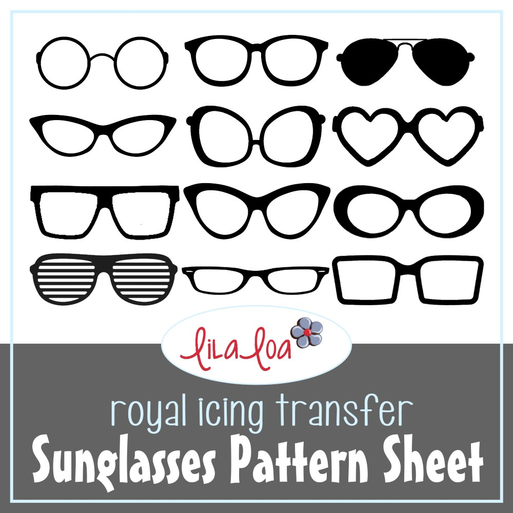 Pattern sheet for fun royal icing transfer sunglasses