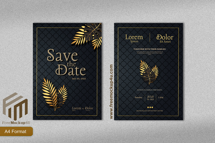 Luxury Wedding Invitation Template With Gold Tropical Leave Black background