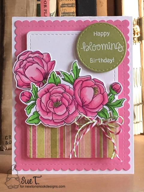 Happy blooming birthday by Sue features Peony Blooms, Loads of Blooms, and Frames & Flags by Newton's Nook Designs; #newtonsnook