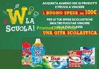 Logo Concorso ''Wiva la scuola'' : con i prodotti Henkel vinci buoni spesa da 100€ e gita scolastica