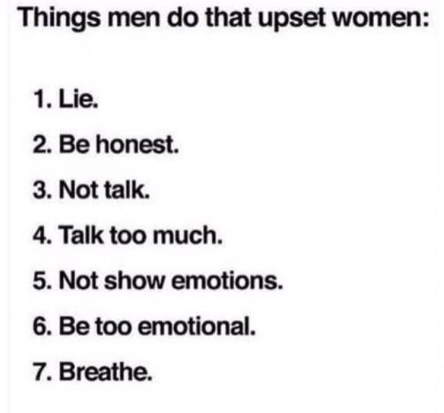 Things men do that upset women list