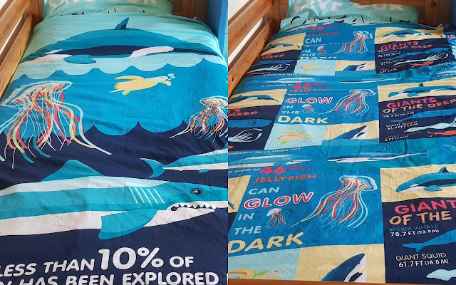 Collage showing both sides Sealife Oceans Giants Of The Deep Reversible Recycled Bedding