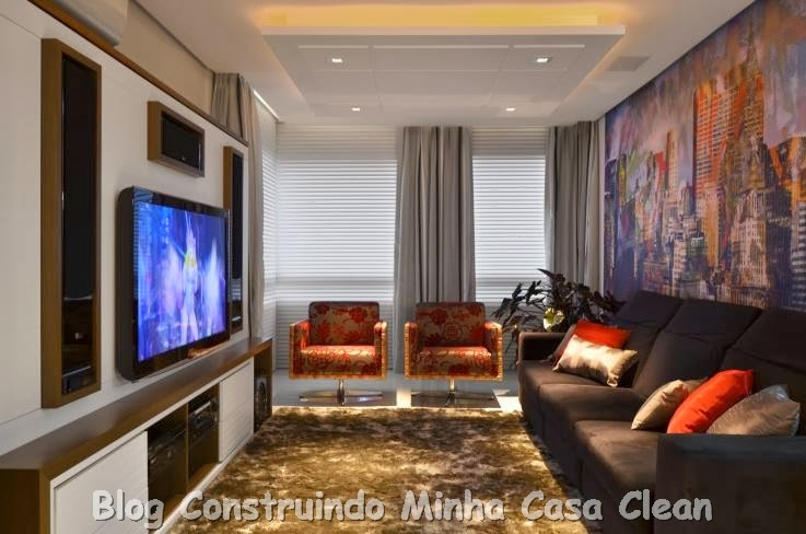 Sala Tv Com Home Theater ~ Construindo Minha Casa Clean Home Theater! 20 Projetos de Salas de TV