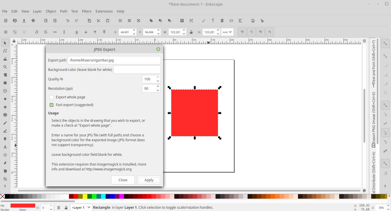 Cara Export Gambar Format JPG di Inkscape