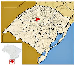 Cidade de Cruz Alta, no mapa do Rio Grande do Sul